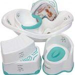 Ensemble enfant Une série de choses indispensables pour l'enfant : baignoire bébé, 2 sièges de bain, siège de bain, pot pour enfant, pot enfant, 2 tabourets de toilette blanc