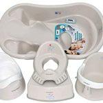Ensemble enfant Une gamme de choses indispensables pour l'enfant : baignoire bébé, siège de bain, siège de bain, siège de toilette pour enfant, pot enfant, tabouret de toilette, gris